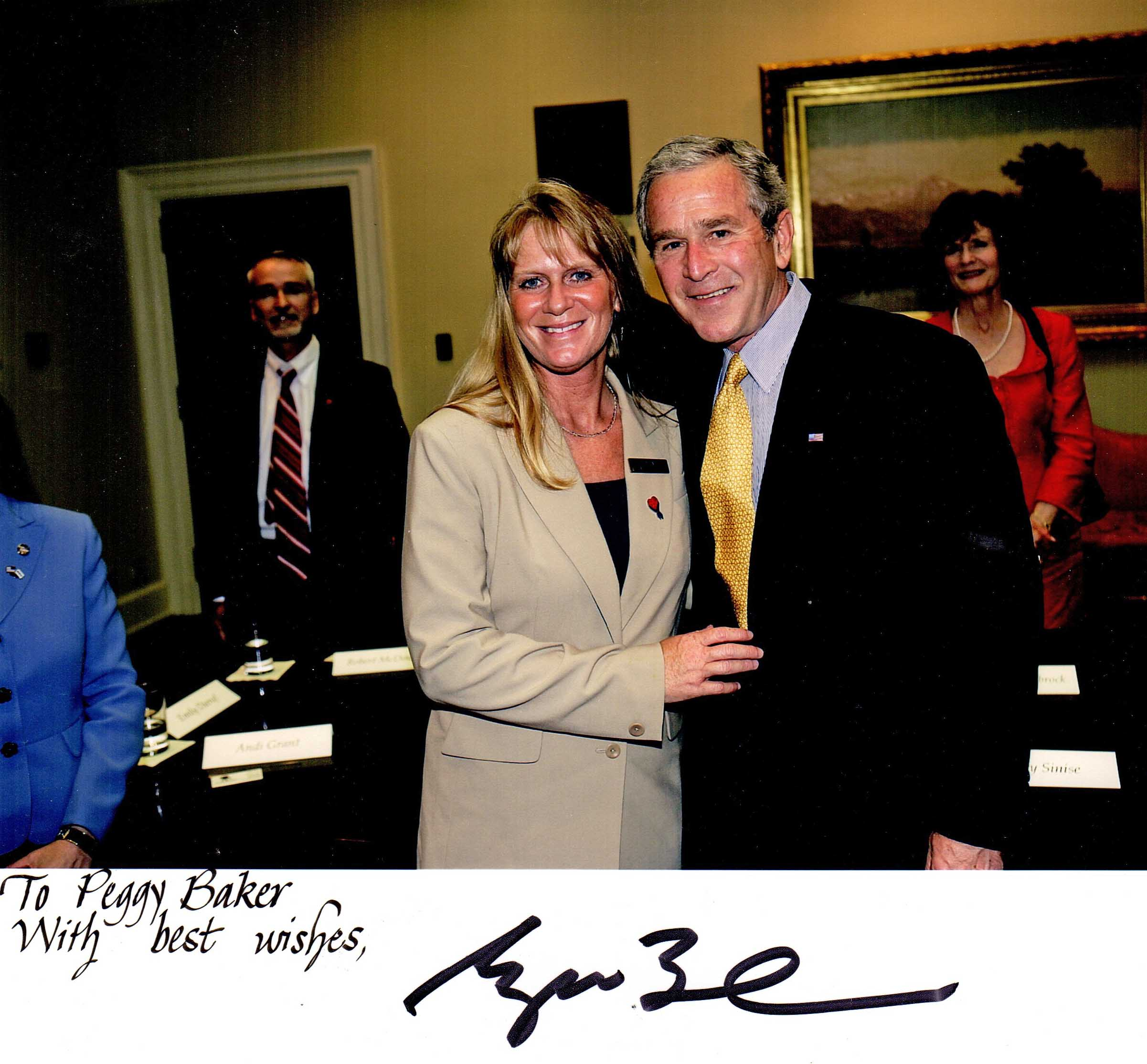 Peggy Baker with President George W Bush