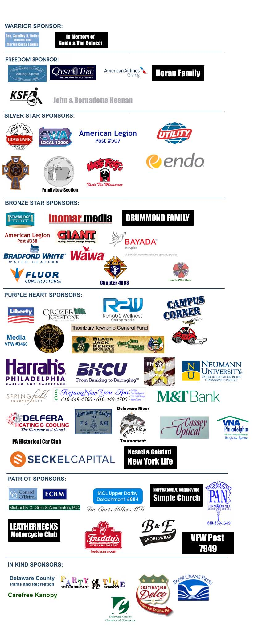Walk for the Wounded 2017 Sponsors - Media PA
